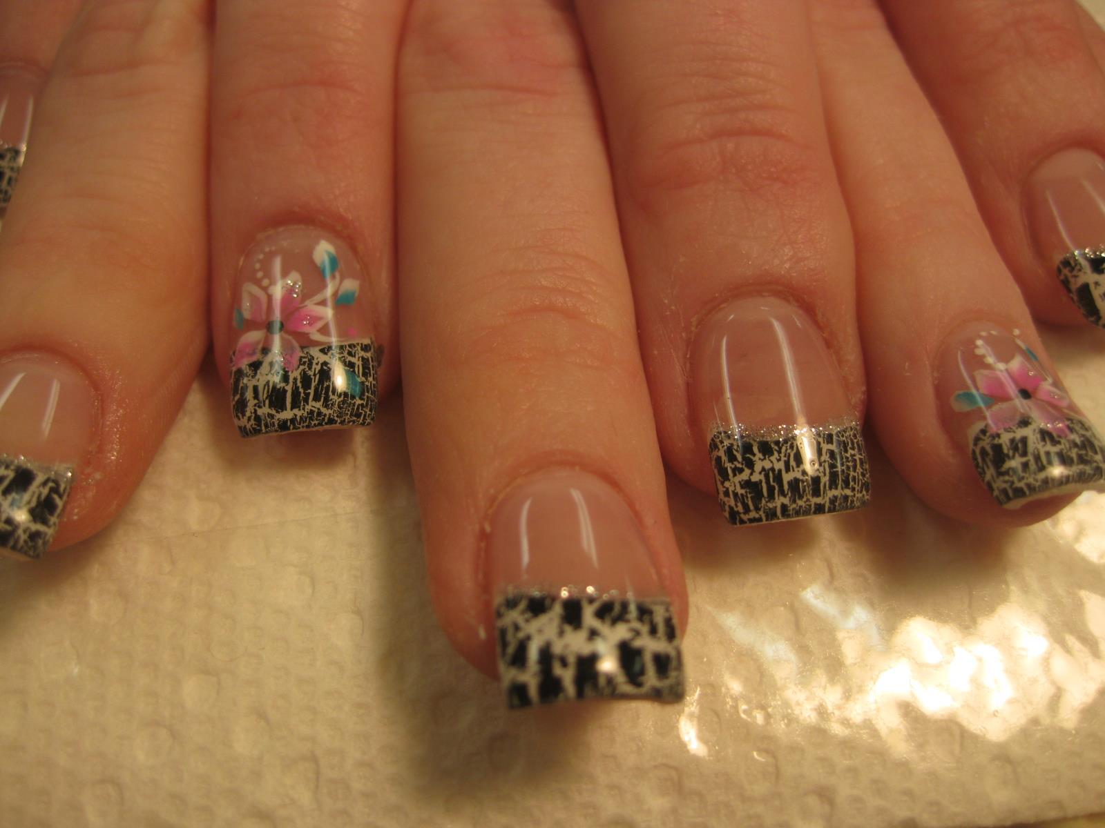 Street Flowers, nail art design by Top Nails, Clarksville TN.