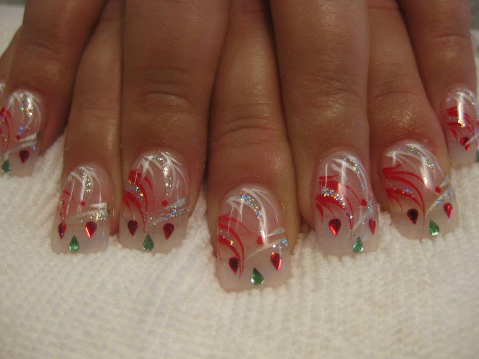 Christmas Present Nail Art Design By Top Nails Clarksville Tn