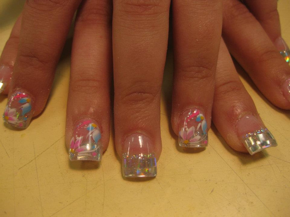 037g sparkling silver tip with pink flower petals white swirls yellowpinkblue prinsesfo Images