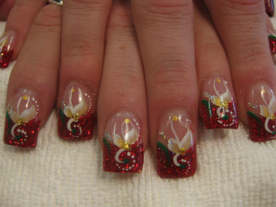 047g sparkling christmas red tip flesh colored nail holly greenred swirls circle prinsesfo Gallery