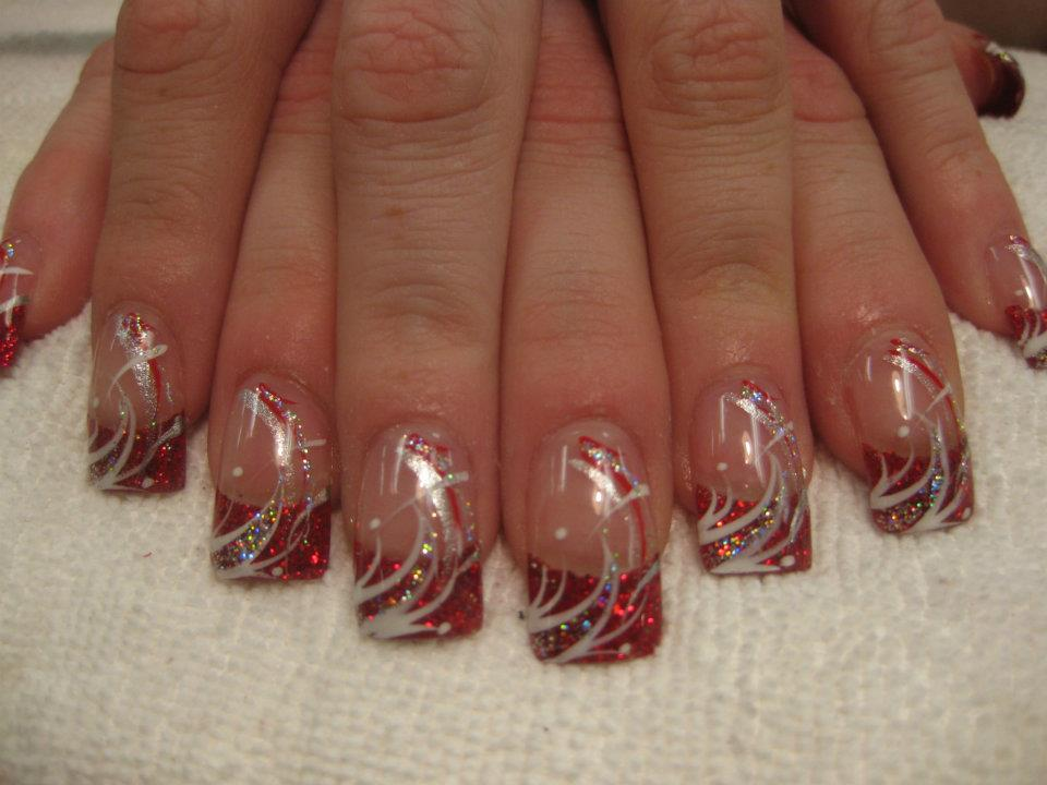 red nail polish with white tip