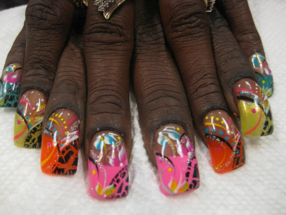 104g bright choice of color tip with curved cheetah print on half yellow jungle safari nail designs prinsesfo Images
