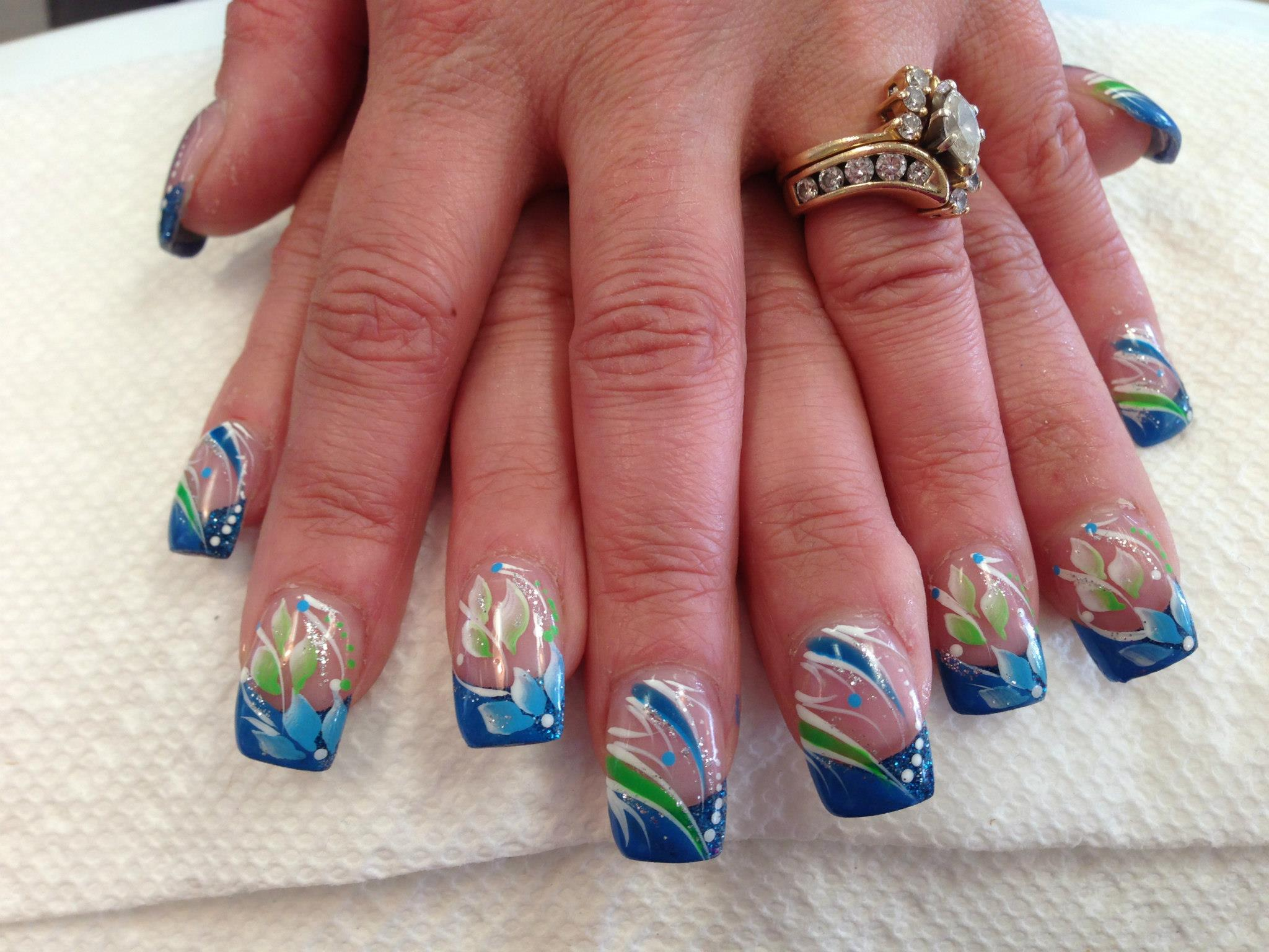 130g opaque blue tip with bluegreen petals whitegreenbluesparkly clearly blue nail designs prinsesfo Gallery