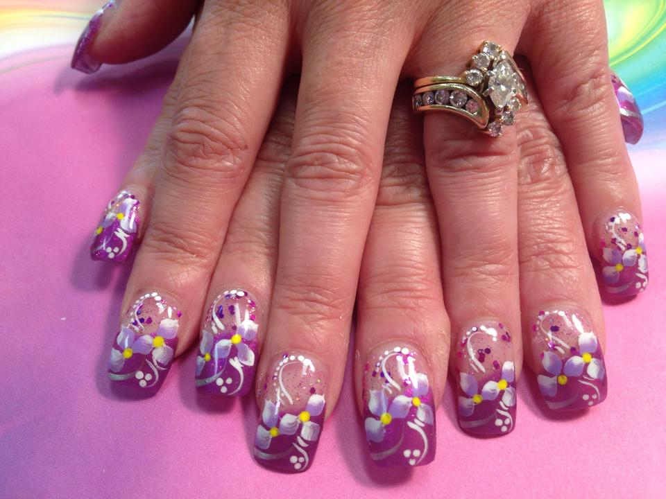 154g sparkly lavenderpink tip with 2 lavenderwhite lilies yellow dot centers prinsesfo Gallery