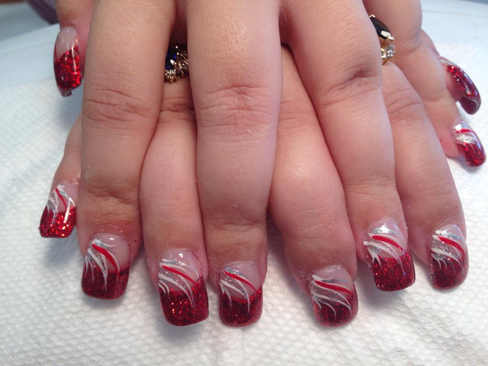 Sparkly bright red tip, flesh colored nail, white/red/silver swirls, - Red Party Dress, Nail Art Design By Top Nails, Clarksville TN.