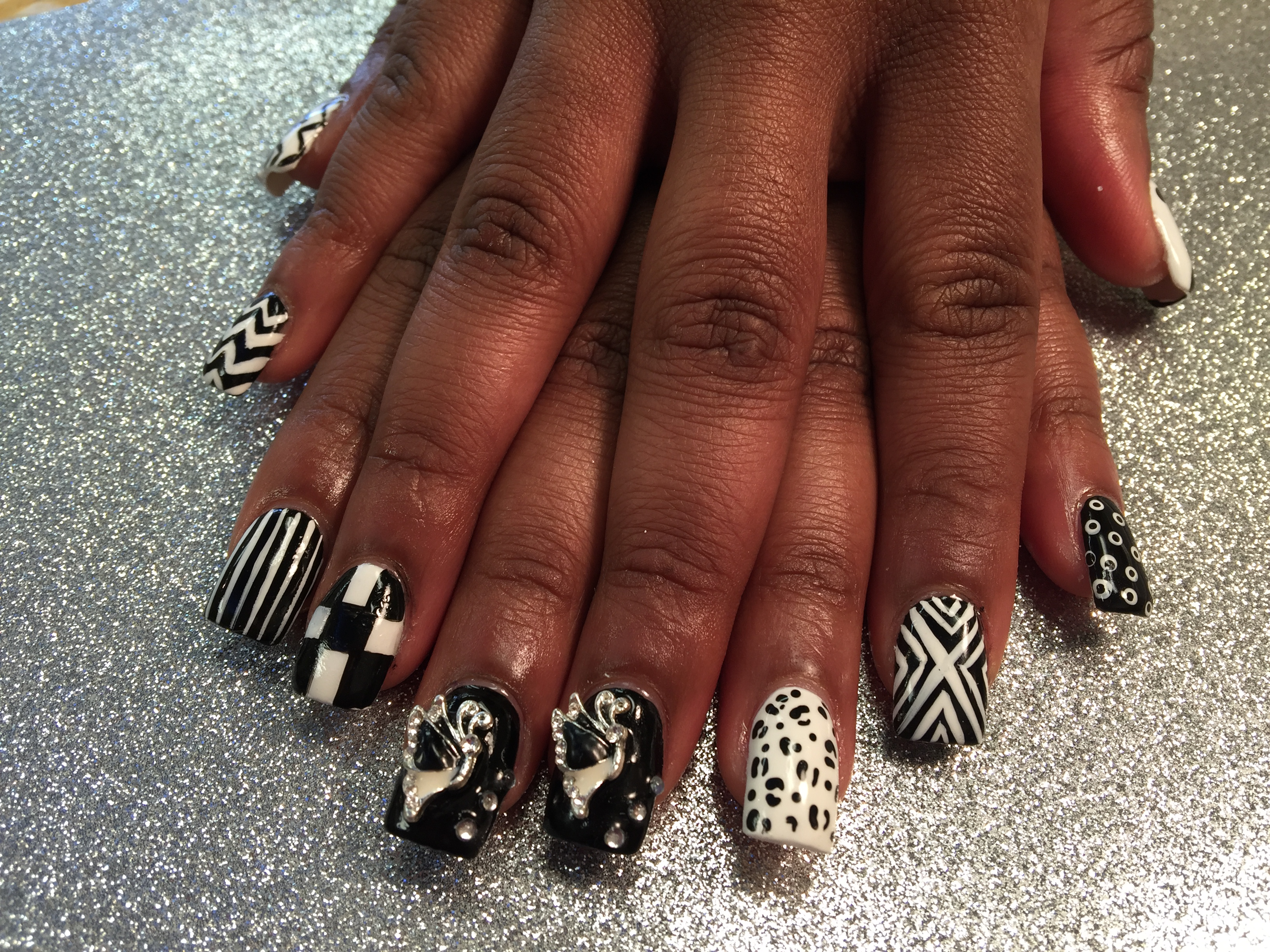 Black and White Menagerie, nail art designs by Top Nails ...
