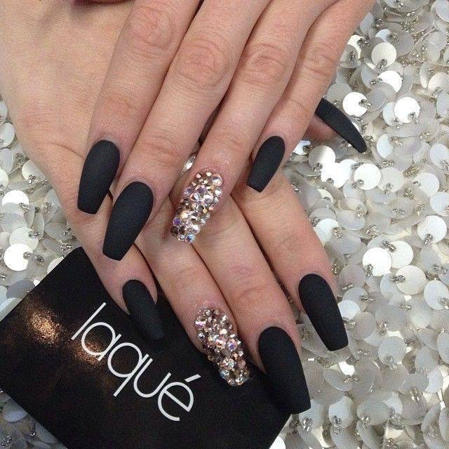 Classy flat black AND diamond glue-on studded extra-long nails . - 218.jpg