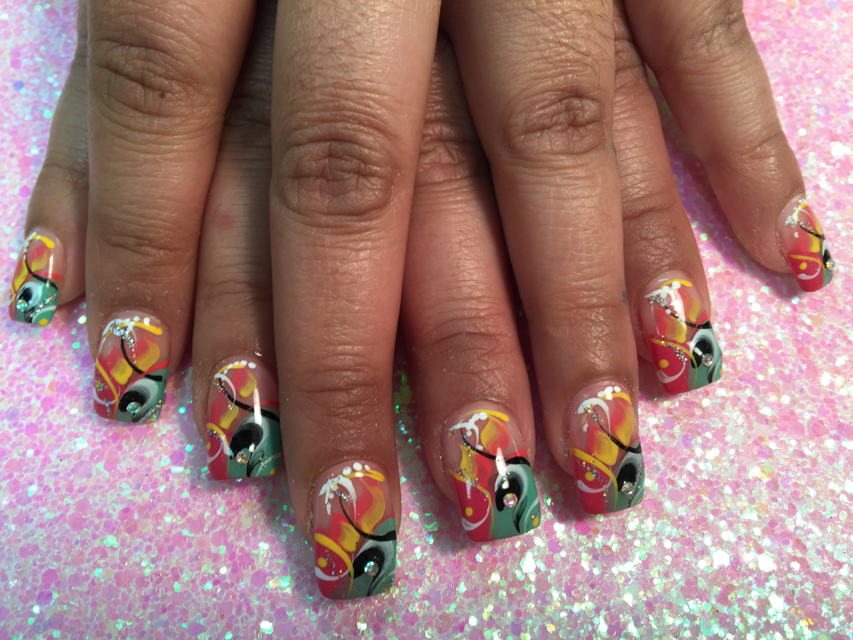 228g miami party nail art design by top nails clarksville tn prinsesfo Images