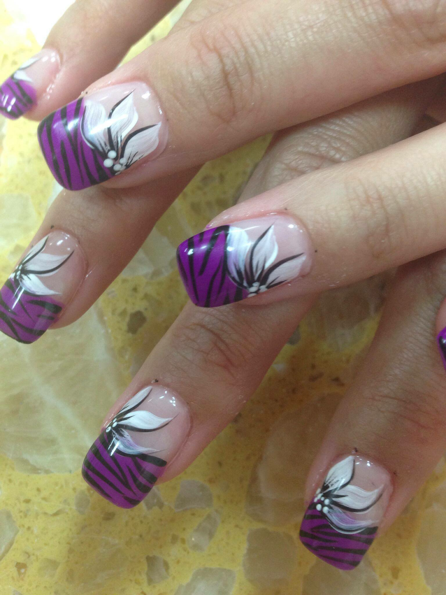 Purple Tiger Stargazer, Nail Art Designs By Top Nails