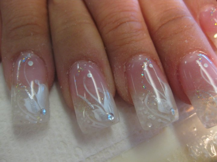 Crystal Diamond Wedding Nail Art Design By Top Nails Clarksville Tn