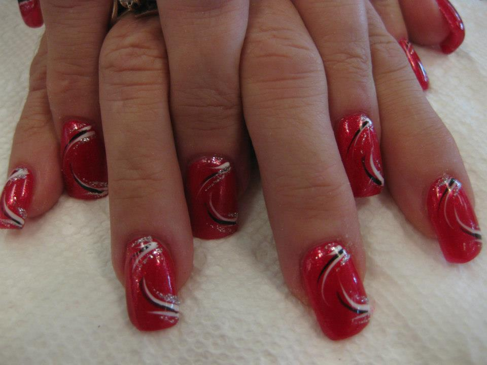 Valentine Swirl Nail Art Design By Top Nails Clarksville Tn