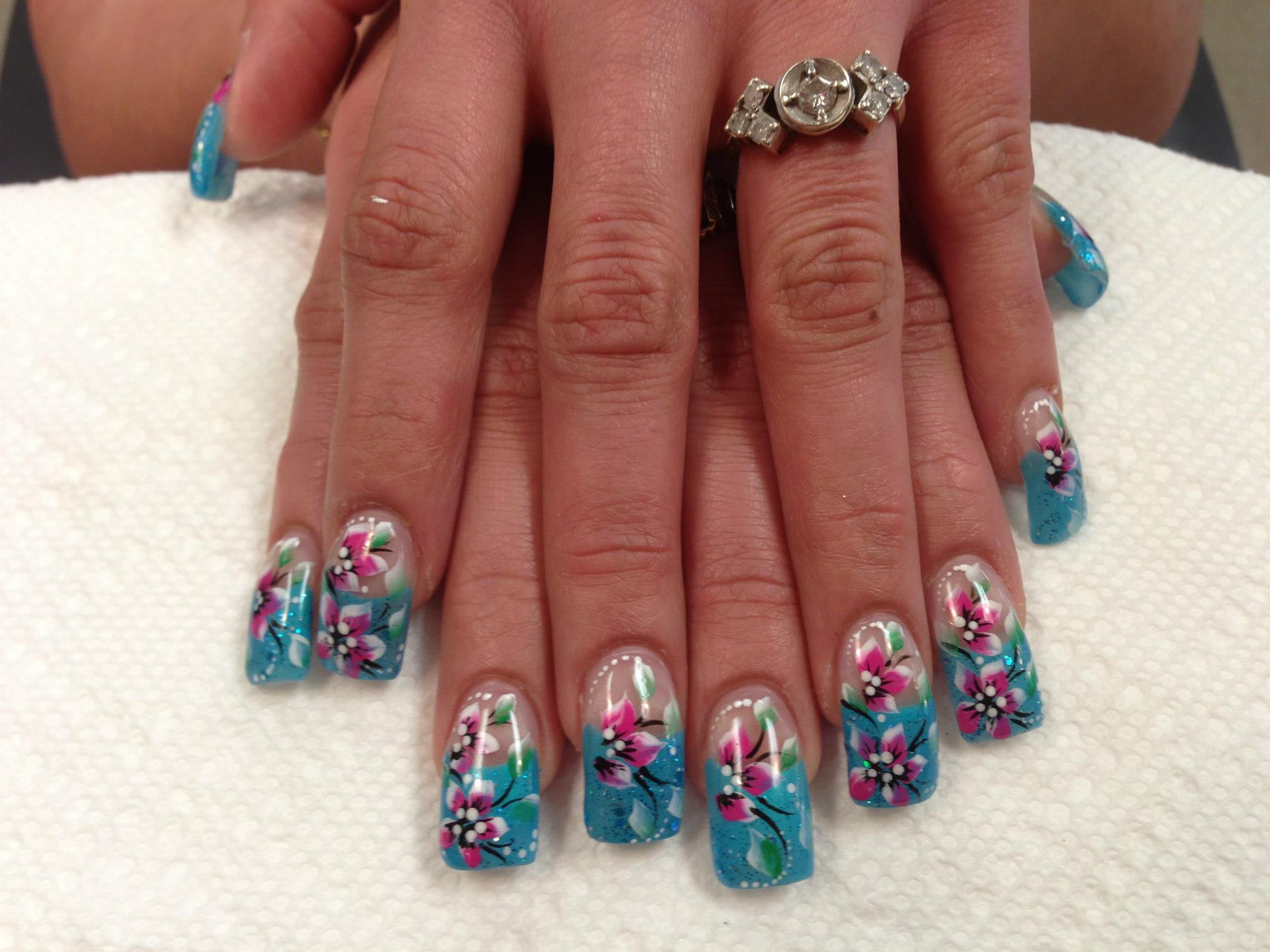 Lily of winter nail art design by top nails clarksville tn sparkly aqua blue tip with pinkwhite calla lily or lilies green izmirmasajfo
