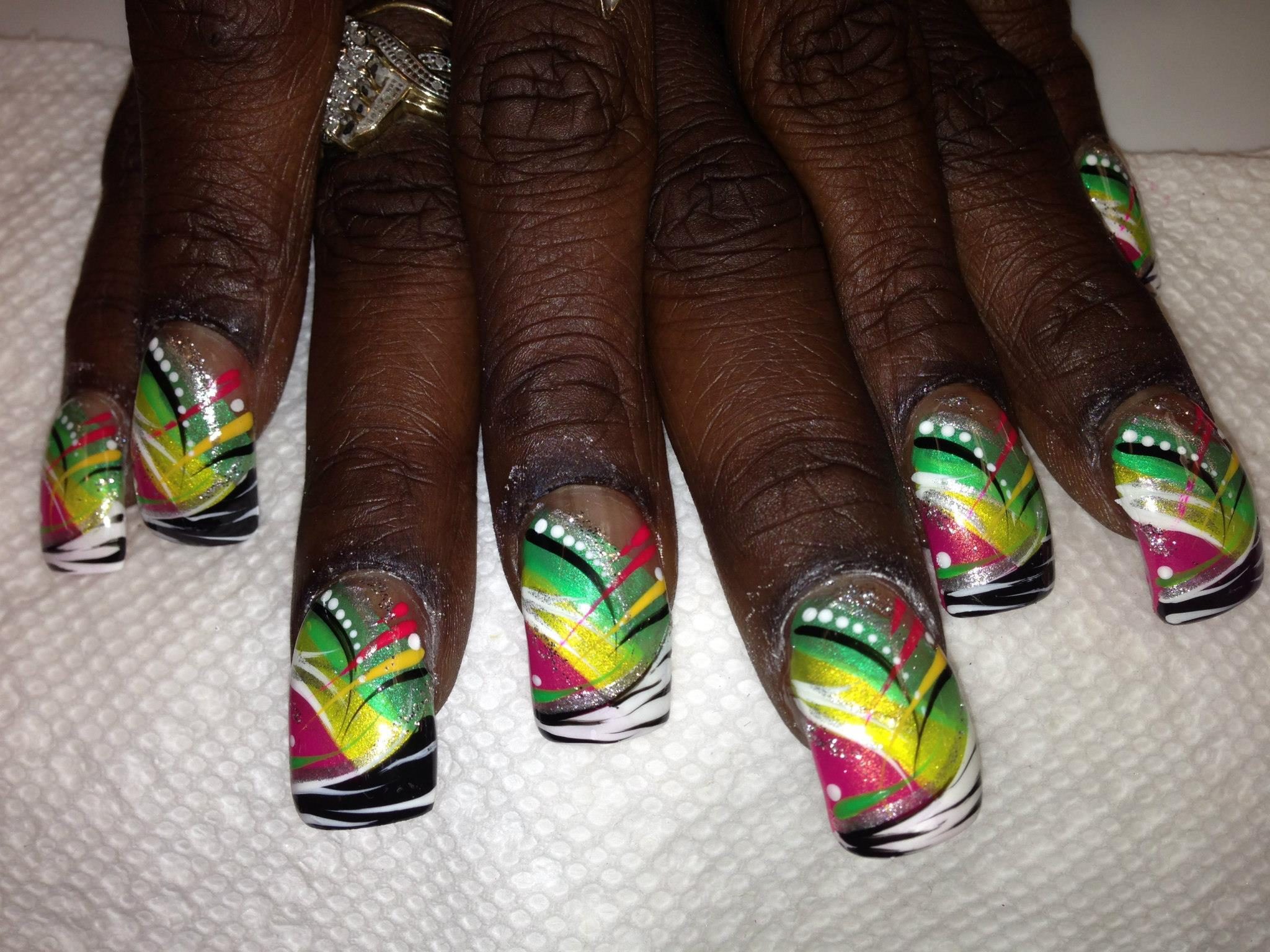 Haitian Celebration Nail Art Design By Top Nails Clarksville Tn
