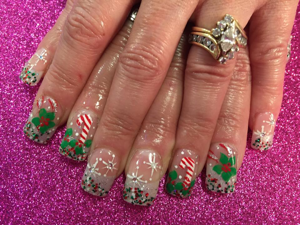 Candy Cane Forest Nail Art Design By Top Nails Clarksville Tn