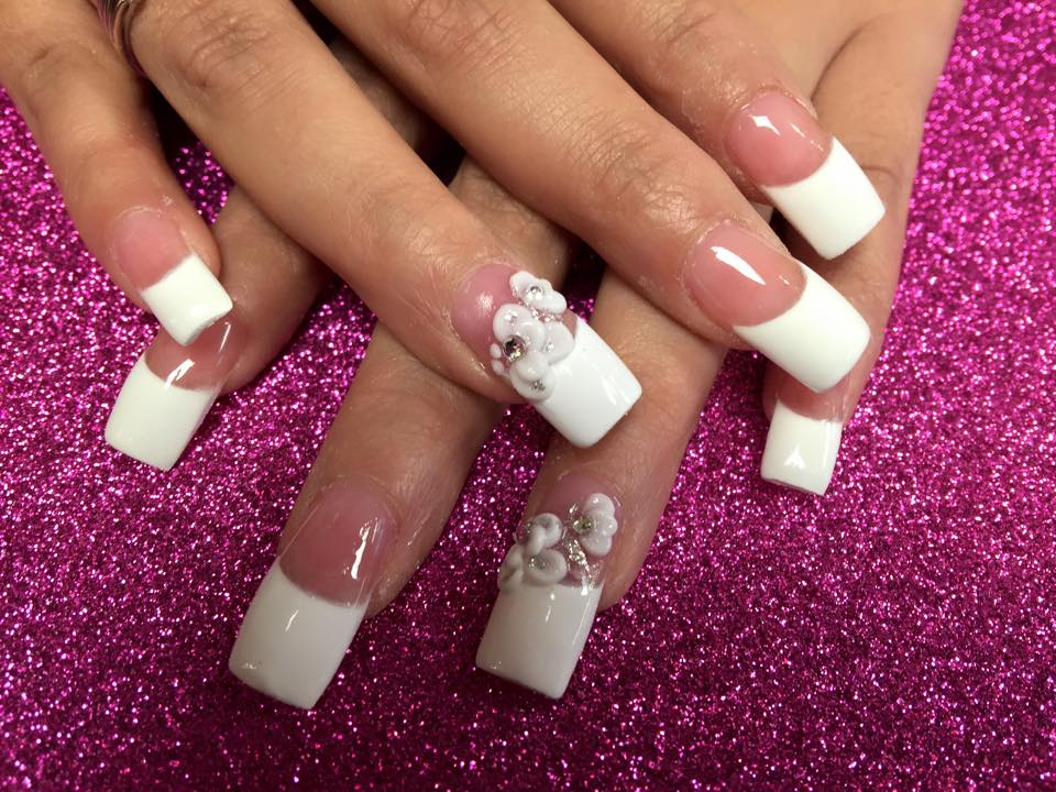 Wedding Bells 3d Nail Art Design By Top Nails Clarksville Tn - White Tips Nails Designs Gallery - Ceasy Nail Art Designs For Beginners