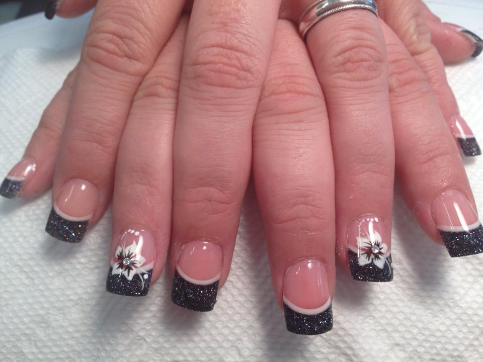 Sparkly Black Tip With Thin Crescent Moon Line Above Flesh Colored Nail White Stargazer