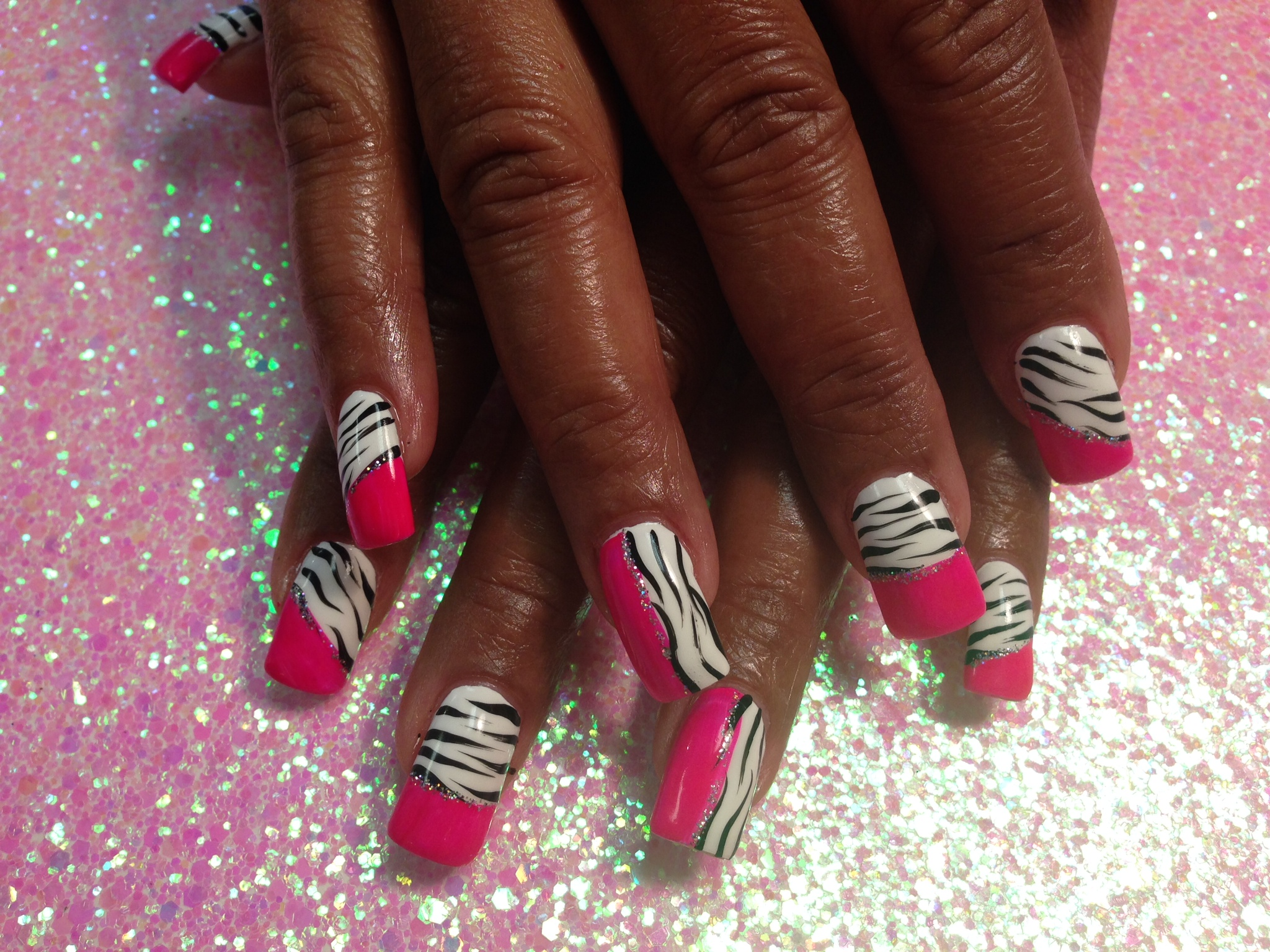 Pink White Tiger Nail Art Design By Top Nails Clarksville Tn